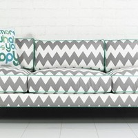www.roomservicestore.com - Down With Love Sofa in Chevron Zig Zag Print Linen