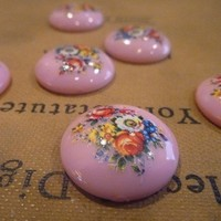 Shabby Chic Push Pins Magnets Vintage Style - Flowers in Bloom - Push Pins or Magnets