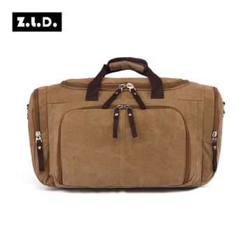 Original Z.L.D Travel Bag Big Capacity Canvas Leather Men Travel Tote Large Outlet Bag For Night Multifunction Weekend Bags