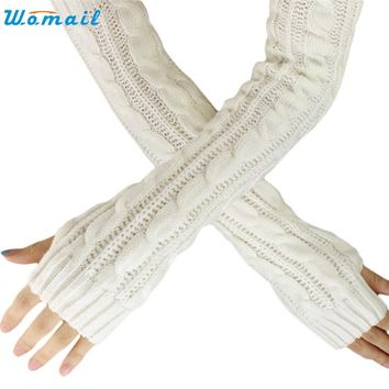 New Fashion  Womail Cool beener Hemp Flowers Fingerless Knitted Long Gloves dec14 Drop Shipping