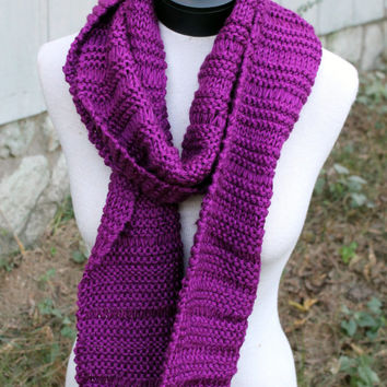 Hand Knit Scarf - long, bright purple, drop stitch pattern