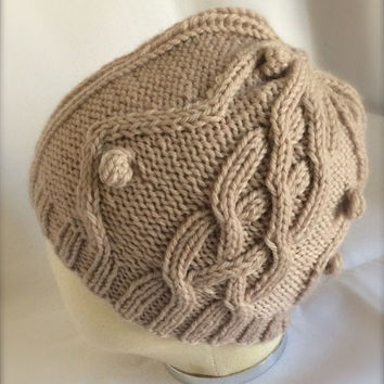 Hand Knit Wool Cap Knitted Wool Cap Knitted Cable Beanie Beige Cable Hat Accessories Knit Wool Hat Bobble Hat