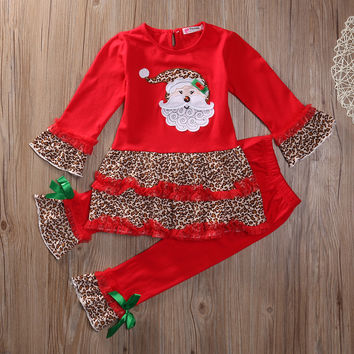 2pcs christmas suit !! Baby Girls Christmas deer dress+ leapard pants Halloween Kids Clothes Sets
