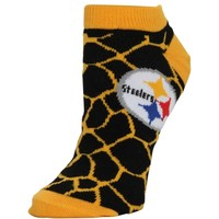 Pittsburgh Steelers Women's Giraffe Print Ankle Socks – Black
