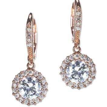 CZ by Kenneth Jay Lane - Classic Rose Gold Plated Round Drop Pierced Earring