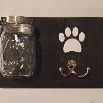 Dog Leash Treat Holder, Wood Wall Mount