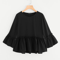 Ruffle Cuff And Hem Textured Blouse -SheIn(Sheinside)