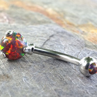 Multi Color Fire Opal Belly Button Ring
