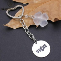 Stainless Steel Round Letter VEGAN Key Chain Key Ring Accessories