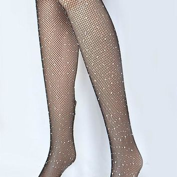 Diamond Rhinestone Fishnet Leggings