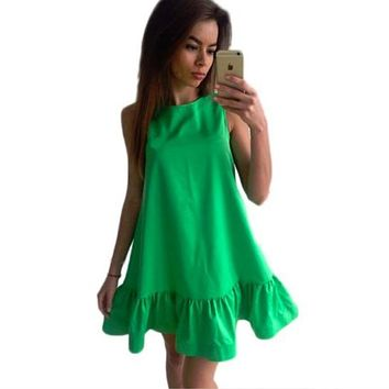 Women Summer dress Solid sleeveless A-line Beach Casual Dress O-Neck Loose Women Dress Above Knee Mini Ruffles Dress