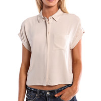 BOXY CUFFED BUTTON UP CROP TOP - TAUPE