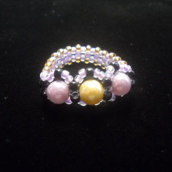 Beaded Ring With Gold and Lavendar Pearls