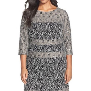 Plus Size Women's Alex Evenings Panel Detail Lace A-Line Dress,