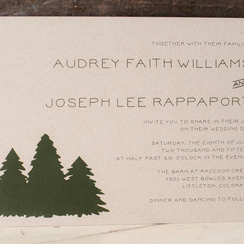 Wedding Invitation, Rustic Wedding Invitation, Kraft Wedding Invitation, Woodland Wedding Invitation, Tree Wedding Invitation - The Audrey