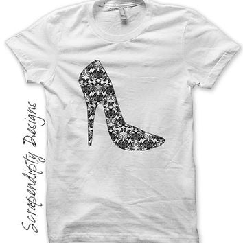 Iron on Shoe Shirt PDF - High Heel Iron on Transfer / Women's Shirt / High Heel Shoe Girls Tshirt / Toddler Girls Outfit / Digital IT364-C