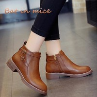 Fashion European Style women Black Ankle Boots shoes Flats Round Toe Back Zipper Martin Boots PU Leather Woman Shoes With W341