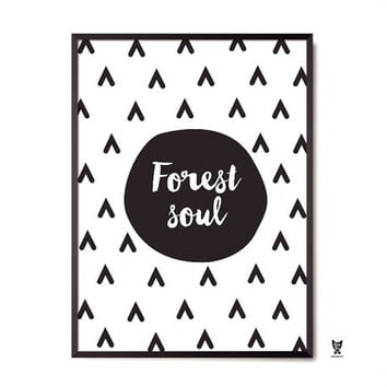 "Forest Soul Printable Poster,  22 x 34"" , Minimal Wall Art"