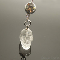 100% Natural Clear Quartz Carved Skull Navel Piercing Bar Barbell, Crystal Skull Belly Ring, Cowboy Belly Ring