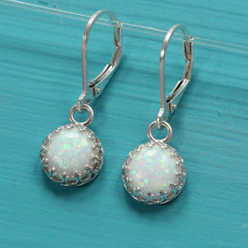 Opal earrings, 925 sterling silver with 8 mm white lab opal October birthstone, bridal earrings, gift for bridesmaid jewelry, white earrings