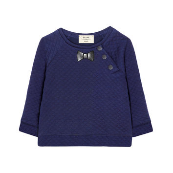 Blune Paris Woven Bow Sweater - Blue -