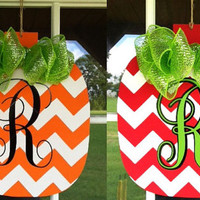 So practical -- REVERSIBLE Halloween, Thanksgiving, Christmas Door Hanger with Chevron and Family Monogram and Bow.