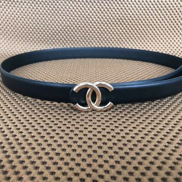 Chanel men and women same tide brand fashion casual belt F-KWKWM black