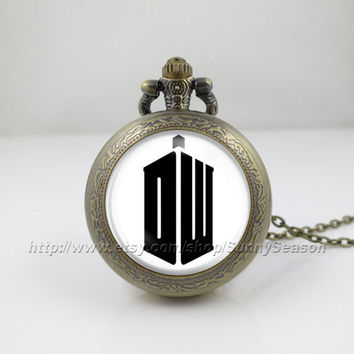 Doctor Who Pocket Watch,tardis Dr who Necklace,Doctor Who Logo Pocket watch necklace,Black logo,Glass Locket Pocket Watch necklace