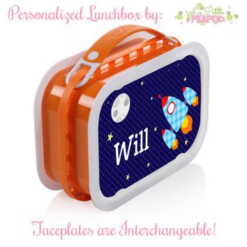 Rocketship Lunchbox - Personalized Lunchbox with Interchangeable Faceplates - Double-Sided Space Rocketship Lunchbox