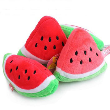 Cute Watermelon Dog Toys Puppy Pet Plush Sound Toy Fruit & Vegetable Squeaky Squeaker Chew Toys for Dogs Cats Rabbits