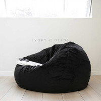 Large Soft Black Velvet Fur Cloud Chair Beanbag