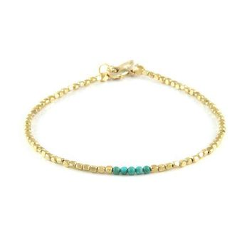 Golden Spur Anklet with Turquoise Beads