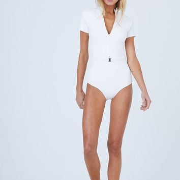 Pierce Short Sleeves One Piece Swimsuit - White Waffle