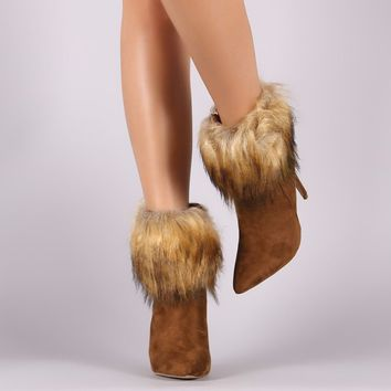 Faux Fur Cuff Stiletto Ankle Booties