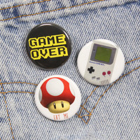 Game Over 1.25 Inch Pin Back Button Badge