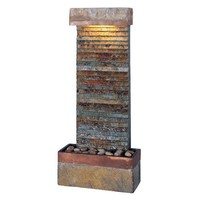 Kenroy Home #50290SLCOP Tacora Horizontal Indoor Table/Wall Fountain in Natural Slate Finish with Copper Accents