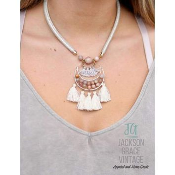 Necklace Leather with Bead and Tassel Drop Natural
