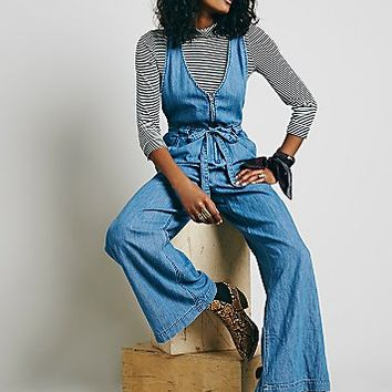 Free People Womens Clara Chambray One Piece
