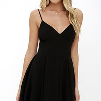 From the Heart Black Skater Dress