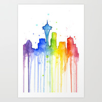 Seattle Rainbow Watercolor Art Print by Olechka