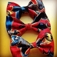 Batman red comic handmade fabric hair bow from Bowlicious Divas Bowtique