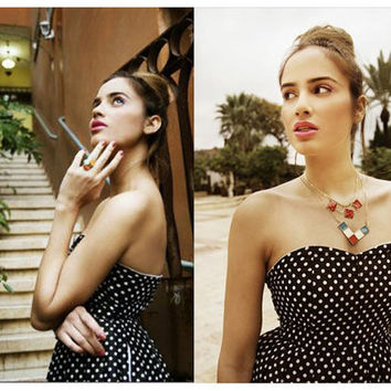 Strapless black dress with white polka dots print - S