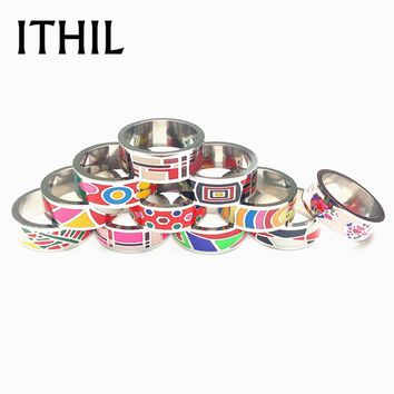 ITHIL New 8mm Width Silver Color Stainless Steel Rings for Women Antique Enamel Men Ring Mens Jewelry Lord Anel Christmas Gifts