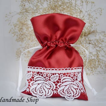 Wedding Favor Bag, Lace Wedding Thank You Favor Bags, Red Wedding Gift Bag, SET OF 25