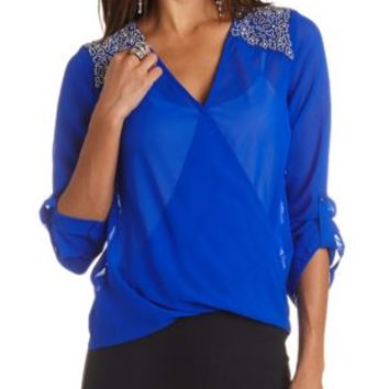 Beaded Yoke Chiffon Wrap Top by Charlotte Russe - Bright Cobalt