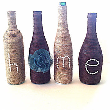 Twine wrapped wine bottles, wine bottles home, home decor, wine decor, wine bottle decor
