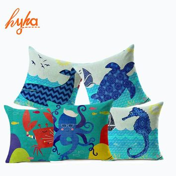 Hyha Marine Creatures Whales Cushion Cover SeaHorse Cartoon Style Home Decorative Pillows Cover for Sofa Feeling of Comfortable