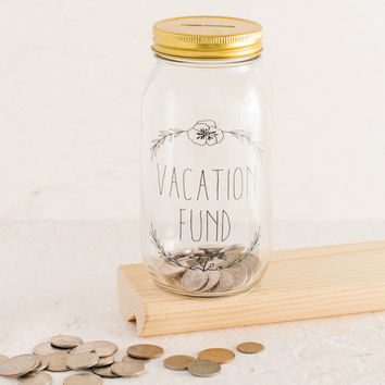 Vacation Fund Clear Mason Jar Coin Bank