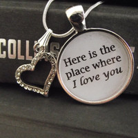 "Here is the place where I love you- Hunger Games- buy two get one free- includes a 16"" or 18"" snake chain- READY TO SHIP"