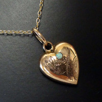 Antique Rolled Gold Plate Puffy Heart Necklace Antique Heart with Opal Vintage Heart Pendant Floral Victorian 1910
